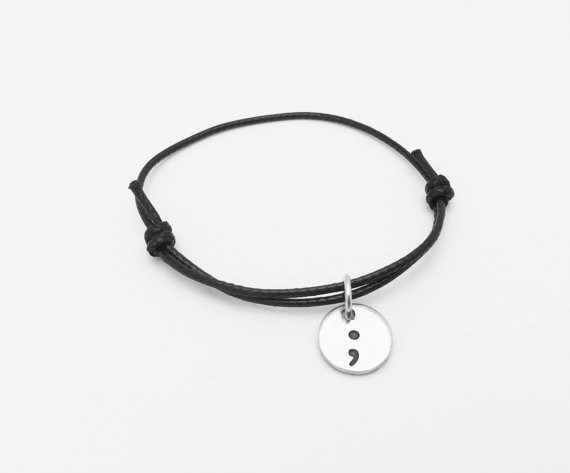 2017 Semicolon Cord Bracelet My story isn't over yet Suicide Awareness Mental Health Awareness Bracelets Jewelry YLQ0308