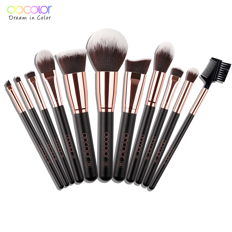 Docolor 11PCS Professional Makeup Brushes Set Powder Foundation Eyeshadow Make Up Brushes Cosmetics Soft Synthetic Hair цена