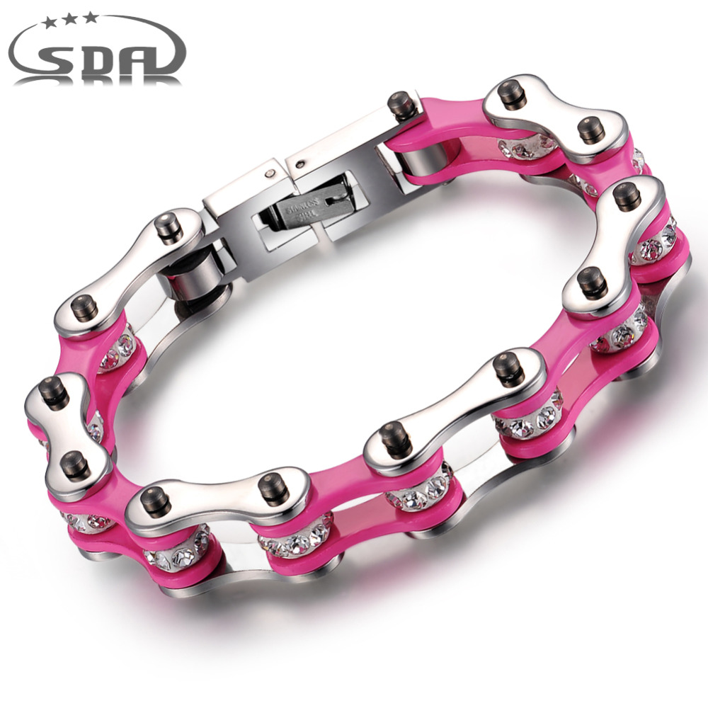 SDA Fashion pink motorcycle chain bracelet  for girl women Crystal Stainless steel Bike  Chain Bracelets 7mm&10mm wide YM012