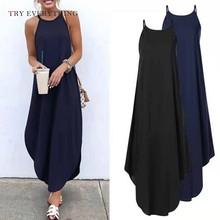 купить Black Loose Casual Dress Sleeveless Halter Ladies Long Dresses Orange Loose Plus Size Dress 3XL 5XL Gray Women Dress Summer 2019 дешево