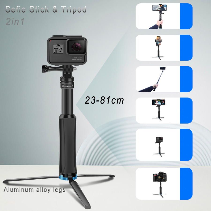 2in1 Tripod Selfie Stick For iPhone samrtphone Foldable Monopod &Mini Tripod for GoPro hero 8 7 Xiaomi Yi Osmo action camera-in Selfie Sticks from Consumer Electronics