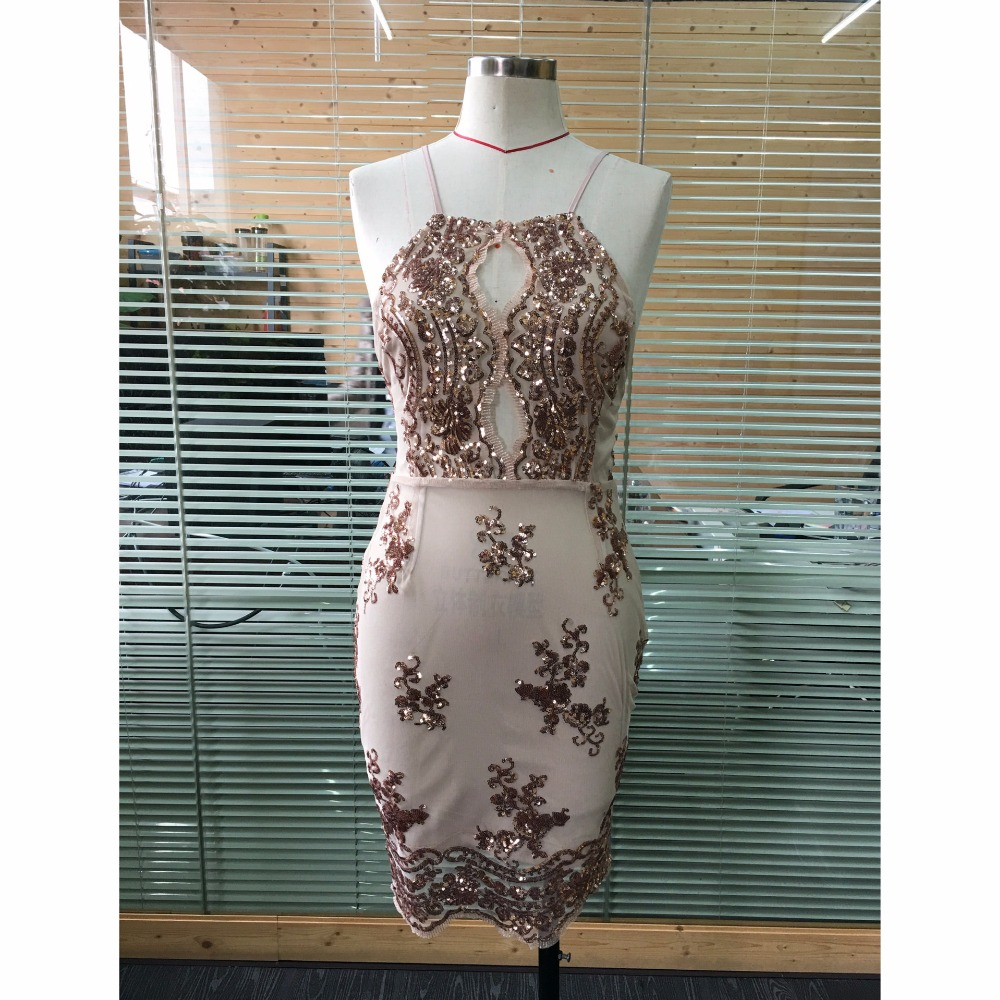 990c4c3df468f Sexy Women Party Dress 2018 Summer Hanging Neck Cross Back Bandage  Embroidery Sequin Dress Keyhole Mini Beach Dress Sommer Kleid-in Dresses  from ...