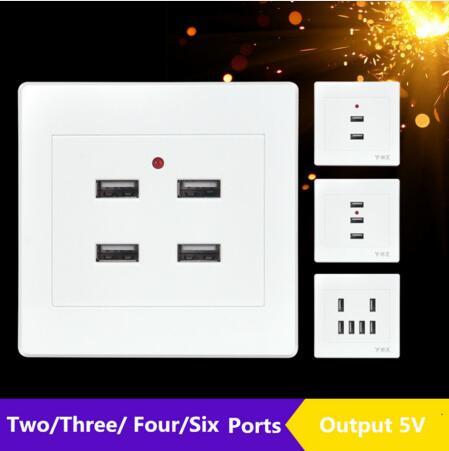 110v-250V USB Wall Socket Electric Wall Charger Dock Station Socket DC 2/3/4/6 Ports USB 5V 3.1A Power Adapter Plug