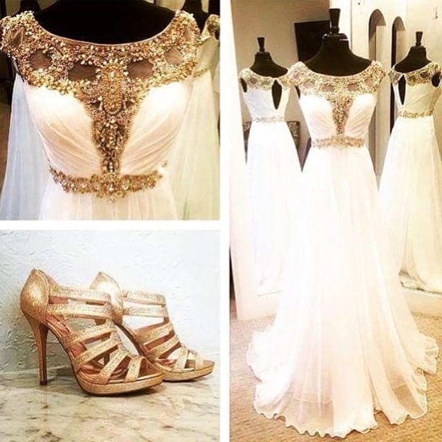 Buy white wedding dress 2017 princess for Gold beaded wedding dress