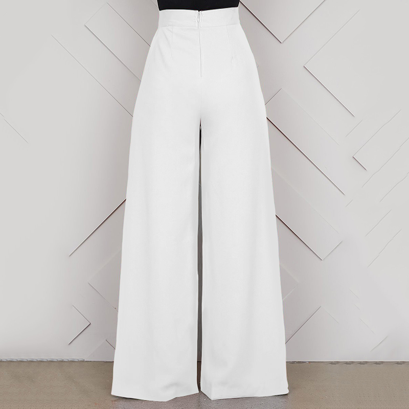 Elegant High Waist Women's Trousers 19 Autumn Winter White Black Office Baggy Long Back Zipper Wide Leg Pants pantalon femme 5