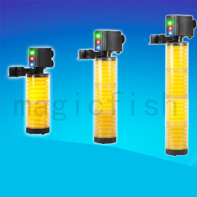 Aquarium filter Built-in 4 in 1 ,high watt pump Strong filtration with LED light ,Add oxygen, make waves