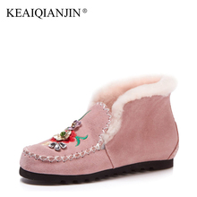 KEAIQIANJIN Woman Embroider Snow Boots Wool Winter Genuine Leather Flats Shoes Black Pink Platform Ankle Boots Plus Size 33 – 42