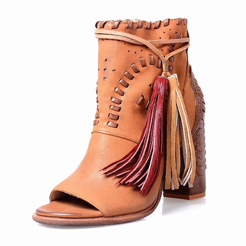 2b5523ff7e7 2017 vintage punta abierta tacón alto vaquero mujer Fringe embellecido  Encaje up Botines Vestidos de fiesta Zapatos mujeres en Botines de Zapatos  en ...