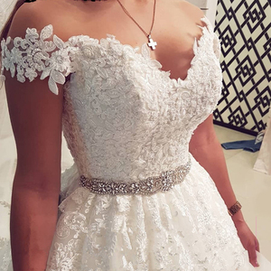 Image 2 - المملكة العربية السعودية قبالة الكتف خمر الدانتيل فستان الزفاف 2020 الكرة ثوب الحبيب فستان عروس Vestido De Noiva تول ثوب زفاف