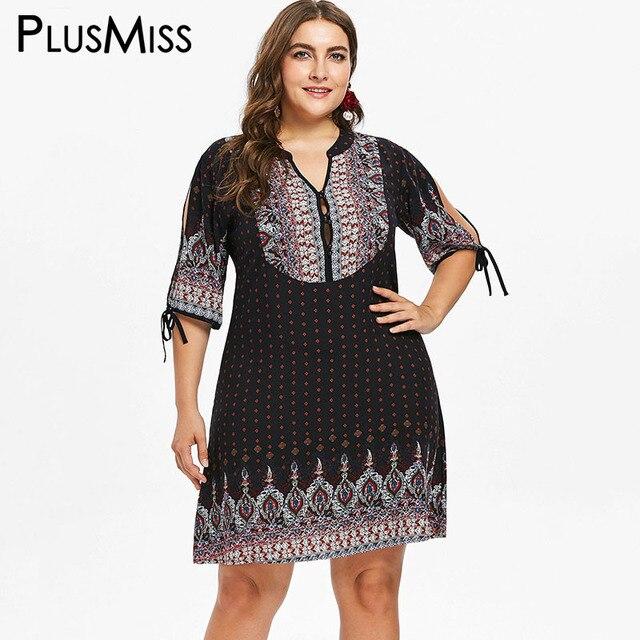 319fbe8fb8afa PlusMiss Plus Size 5XL XXXXL XXXL Hippie Boho Ethnic Geometric Print Dress  Women Beach Bohemia Dresses Ladies Big Size Vestidos