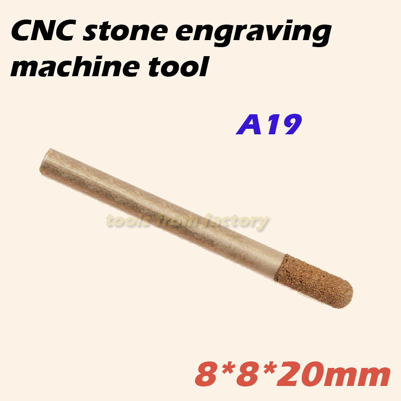 1pc 8*8*20mm cnc router diamond stone carving tool stone engraving machine cutter stone cutting bits A19  цены