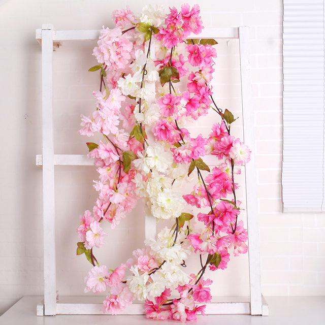 Aliexpress buy artificial cherry blossoms flower silk wisteria artificial cherry blossoms flower silk wisteria vines sakura flower vine hanging for wedding hotel ourdoor decoration mightylinksfo