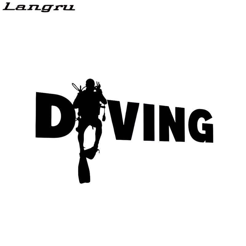 Langru Diving Scuba Diver Vinyl Stickers Funny Decal Bumper Car  Accessories Decorative Jdm