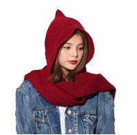 2018 Brand Design Women's Hooded   Scarf   Winter Wool Knitted Earflap Hats Snood Wraps Solid Crochet   Scarves   and Hat for Girl