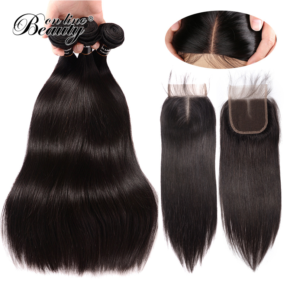Beauty On Line Lace Closure 4pcs Peruvian Straight Hair 3 Bundles With Closure Middle Part Swiss Lace Remy Human Hair Weave