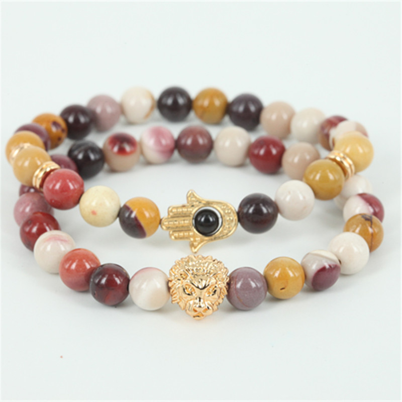 2pcs beaded lion head men bracelet natural egg yellow round stone bead women hamsa hand bracelet fine jewelry as a gift