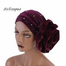 Helisopus 2020 Fashion Women Beaded Velvet Muslim Turban Headwear Headband New Big Flower Hair Loss Cap Hair Accessories