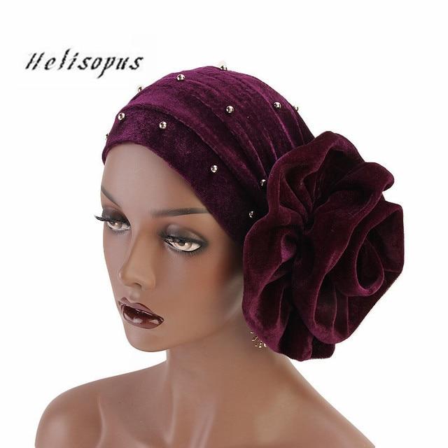 Helisopus 2020 mode femmes perlé velours musulman Turban chapeaux bandeau nouveau grande fleur perte de cheveux casquette cheveux accessoires