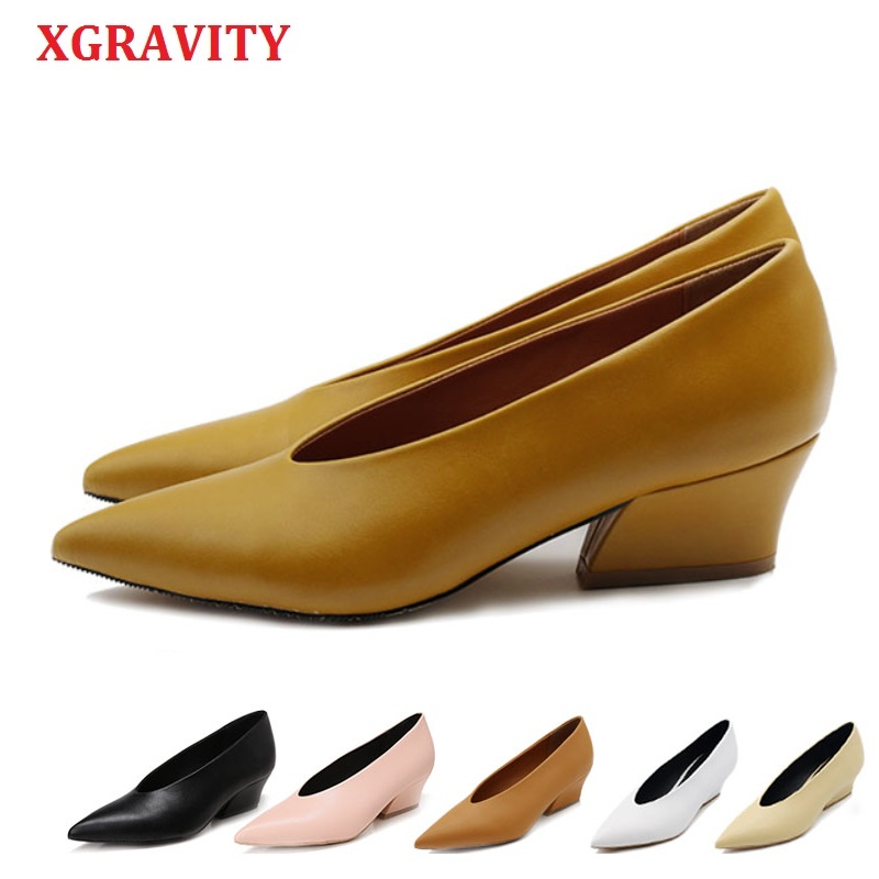XGRAVITY Hot Summer Autumn Designer Vintage Evening Shoes Ladies Fashion Pointed Toe V Cut Woman Shoes High Heel Pumps Sexy A113