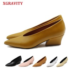 XGRAVITY Hot Summer Autumn Designer Vintage Evening Shoes Ladies Fashion Pointed Toe V Cut Woman High Heel Pumps Sexy A113