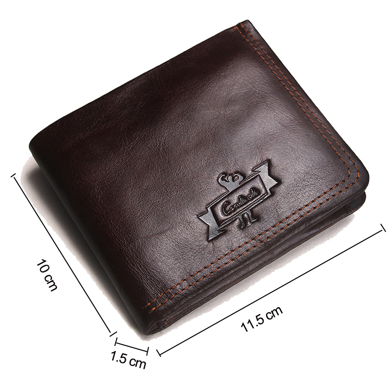 CONTACT'S Genuine Leather Men Wallets Fashion Brand Bifold Design Men Coin Purse High Quality Male Card ID Holder Dropshipping 1