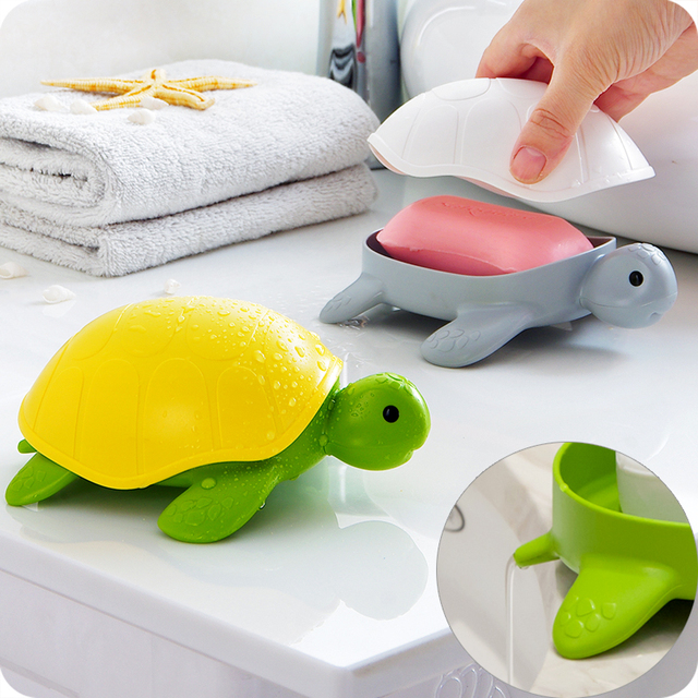Cute tortoise shape soap dish with lid soapbox soap holder sponge Draining rack shower tray kitchen bathroom accessories
