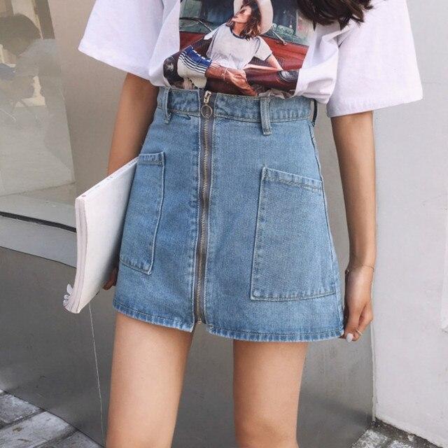 95e5be7be60 SexeMara Spring Summer Harajuku Ring Zipper Denim Skirts 2018 Women Casual  High Waist Big Pocket Skirt