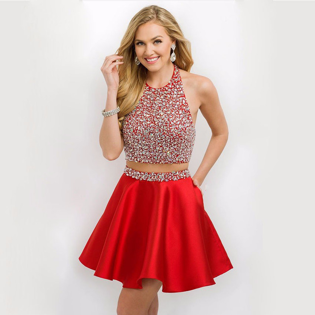 Shiny Short Red Prom Dresses Halter Top Backless Stain Beaded ...