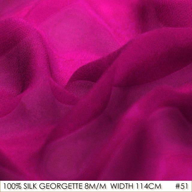 Silk Georgette 114cm Width 8momme 100 Pure Fabric Manufacturer Direct Dark Hotpink No 51