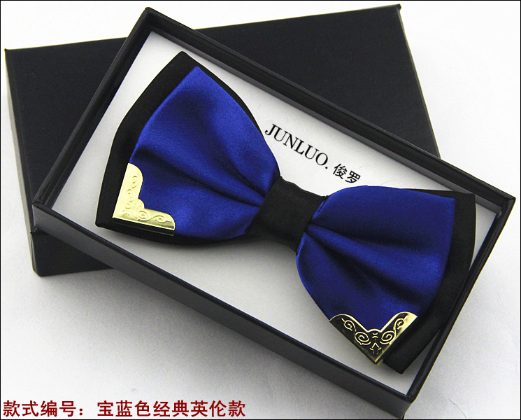 New Style Fashion Boutique Metal Head Bow Ties For Groom Men Women Butterfly Solid Bowtie Classic