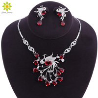 African Bridal Jewelry Sets Phoenix Bird Style Rhinestone Necklace And Earrings Set Women Party Prom Pageant