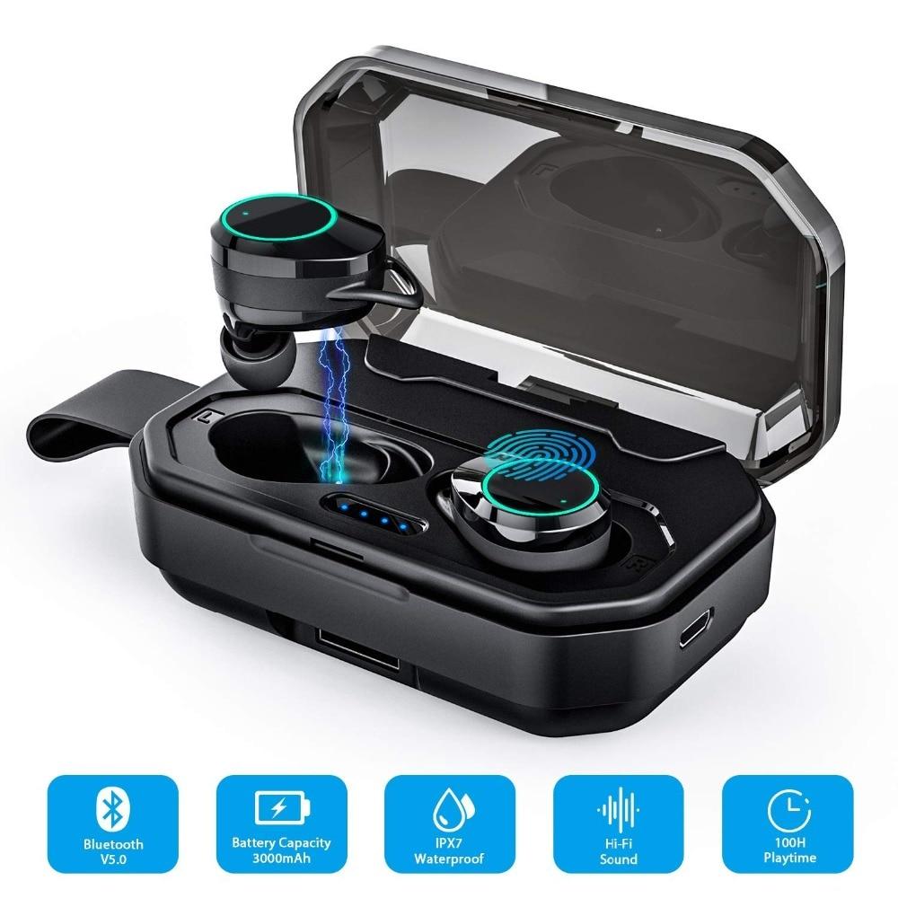 Écouteurs sans fil Super basses TWS Bluetooth 5.0 3D IPX6 extérieur sans fil écouteurs avec batterie externe 3000 mAh pour IOS Android