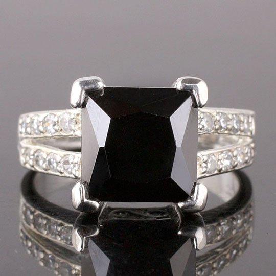 9x9mm Square Stone Princess Cut Luxury Black Onyx Silver Plated Ring