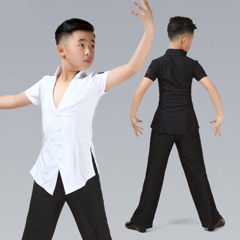 Latin Top Short Sleeve V Collar Boys Rumba Cha Cha Samba Tango Salsa Dancing Shirts Kids Competition Performance Wear DN3608