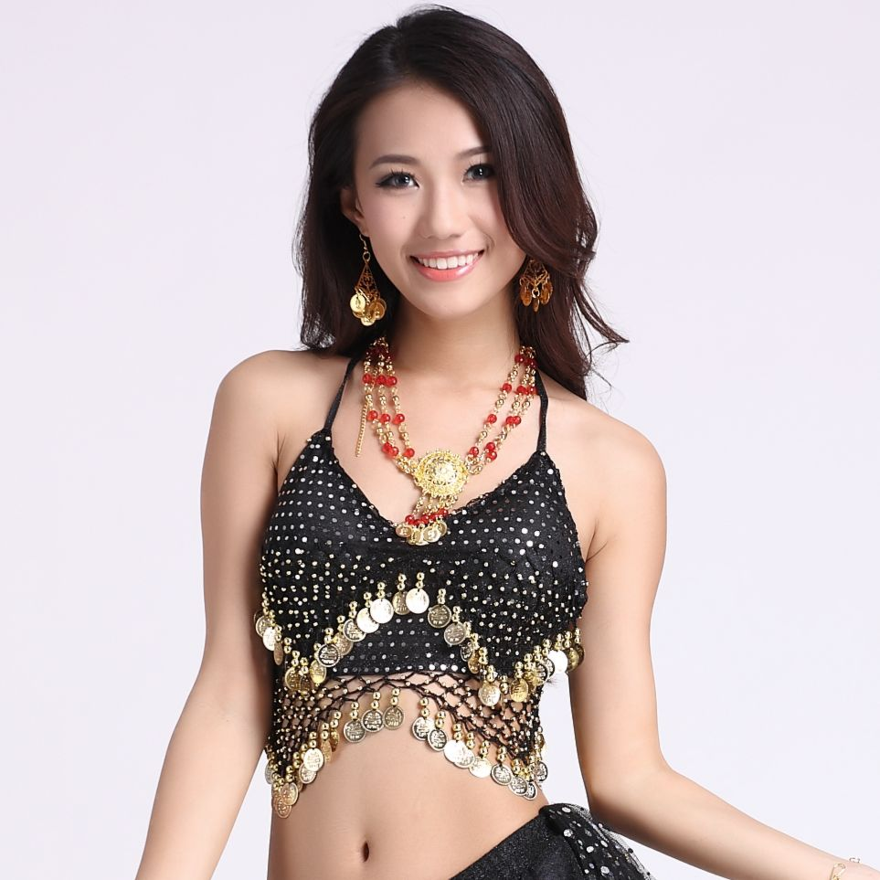 Bra Coins Mesh-Fabric Dancing-Tops Belly-Dance-Costume Highlights Hanging Sexy Women