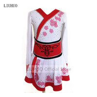 Customized Costume Ice Figure Skating Gymnastics Dress Competition Adult Child Girl Skirt Performance White with red