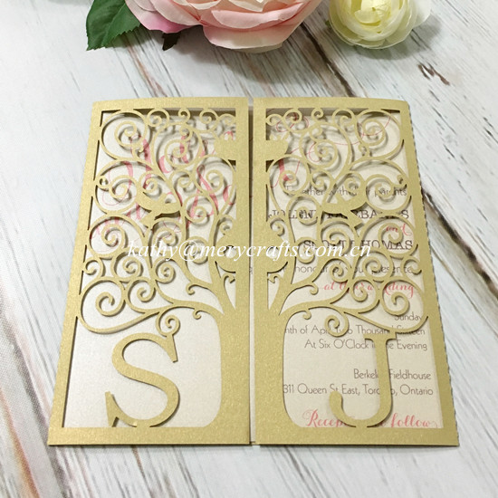 Wedding Invitations Chagne Gold Chinese Imports Whole Laser Cut Luxury Blank Invites