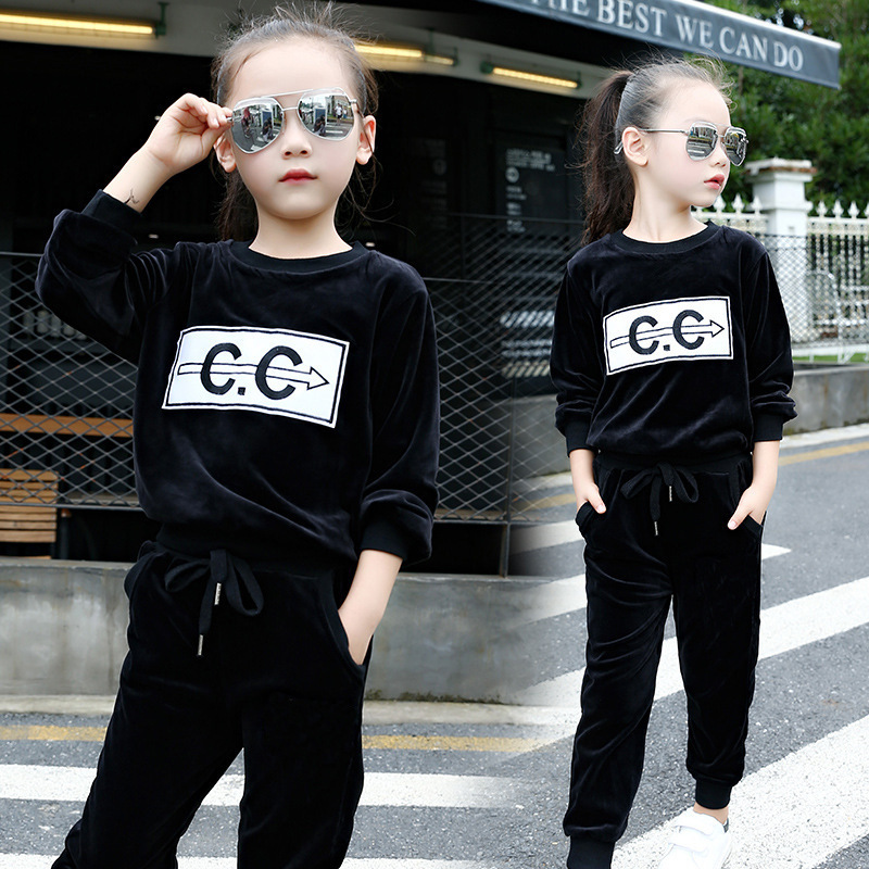 Girl Autumn New Pattern Children Sweater Korean Letter Two Pieces Suit Hot Kids Clothing Sets children s garment girl new pattern clothing children spring autumn autumn two pieces kids clothing sets suit