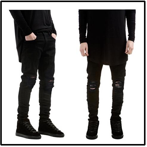 2015 Verão Mens Jeans Destruído Calça Jeans Fino Fresco Slim Fit Estilo Preto Rasgado Calças de Brim Dos Homens
