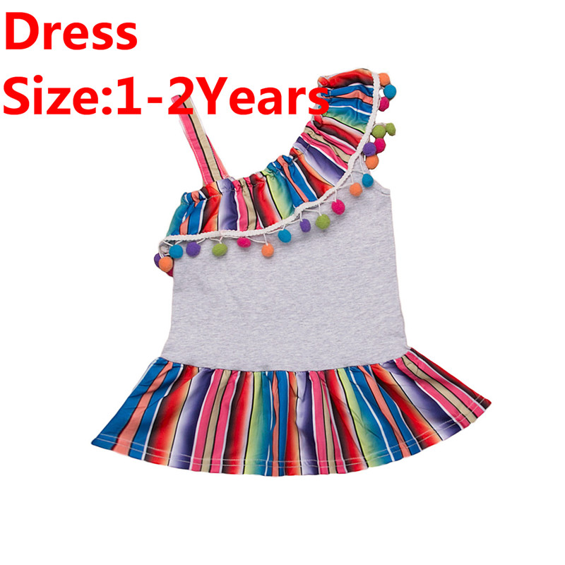 ea7010c77c0dc US $3.78 21% OFF Kids Baby Girls Rainbow Dress/Romper Lovely Summer Girl  One Shoulder Strap Tassels Dress Sister Matching Cotton Clothes 0 5Y-in ...