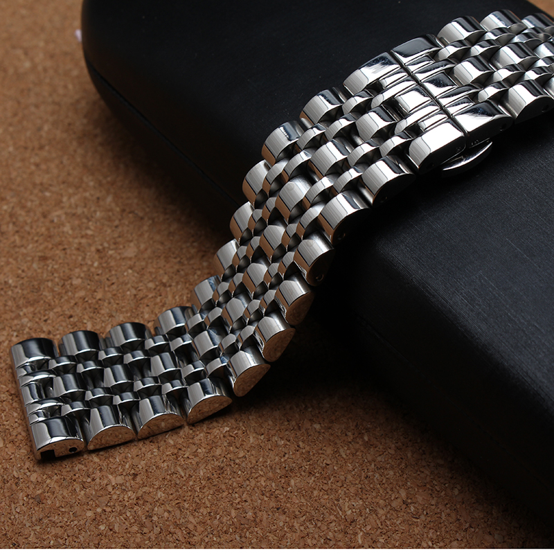 Ремешок для часов, из серебристого металла, нержавеющая сталь, 7 полированных бусин, 14 мм, 16 мм, 18 мм, 20 мм, 22 мм