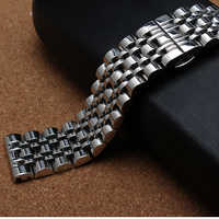 High quality watchband silver metal stainless steel watch straps bracelet polished 7 beads 14mm 16mm 18mm 20mm 22mm for men hour
