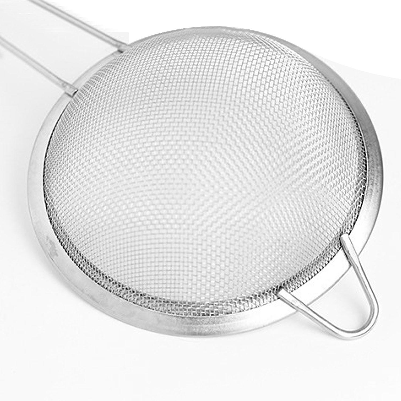 Behokic 3 piezas acero inoxidable de malla fina colador tamiz cocina  utensilios 3 diferentes tamaños 3 5 ddb6963ee280