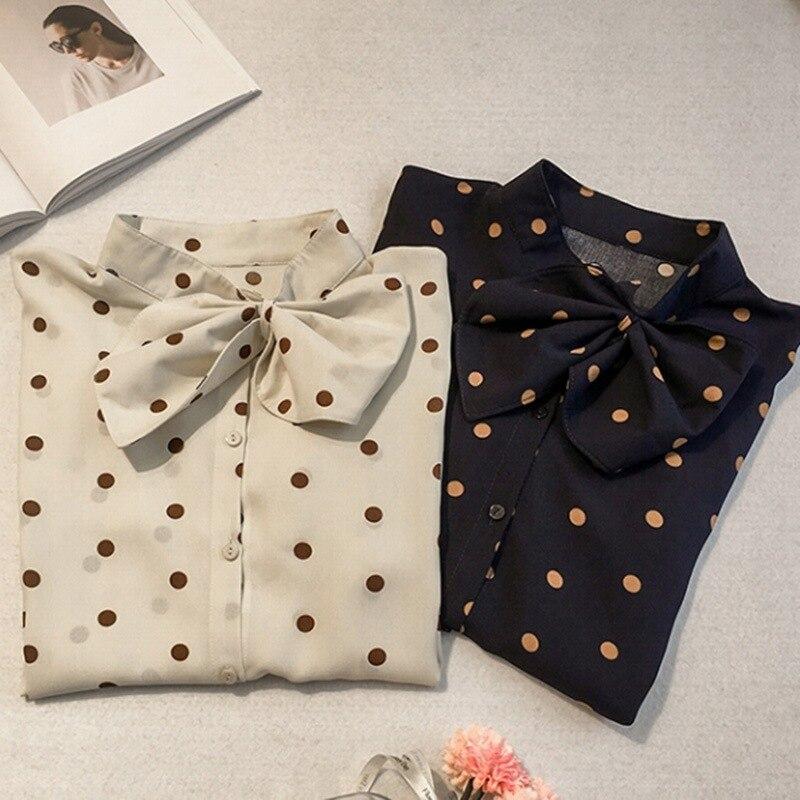 E Fashion Women Blouse Long Sleeve Dot Print Bow Tie Chiffon Blusas Womens Tops And Blouses Female Clothes Harajuku M-3XL