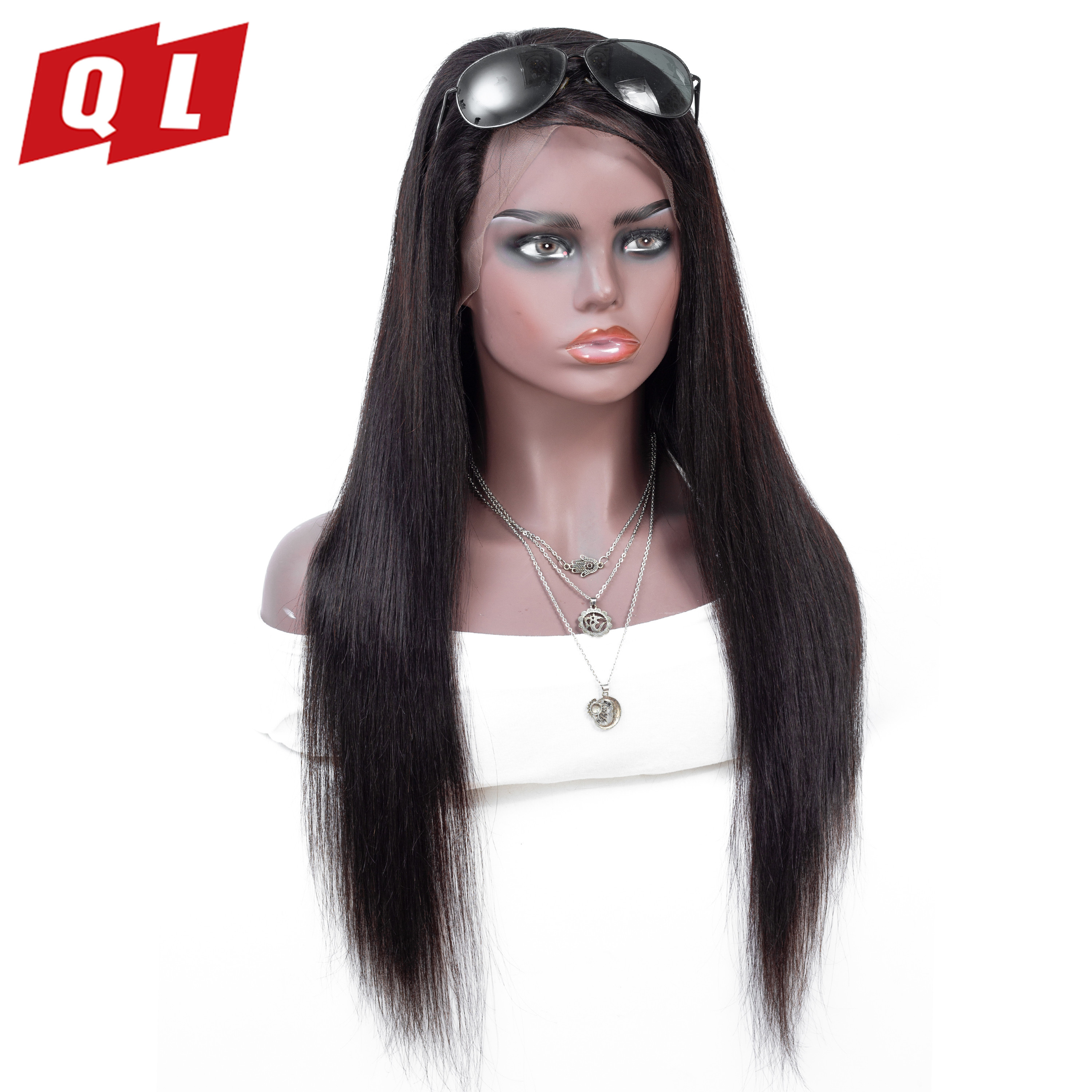 QLOVE HAIR 13 4 Peruvian Remy Lace Front Wig With Baby Hair Straight Human Hair Wigs