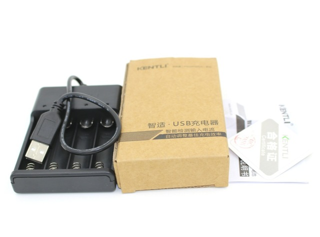 1PCS USB charger KENTLI 4 slots USB battery charger for KENTLI 1.5v AA lithium rechargeable battery