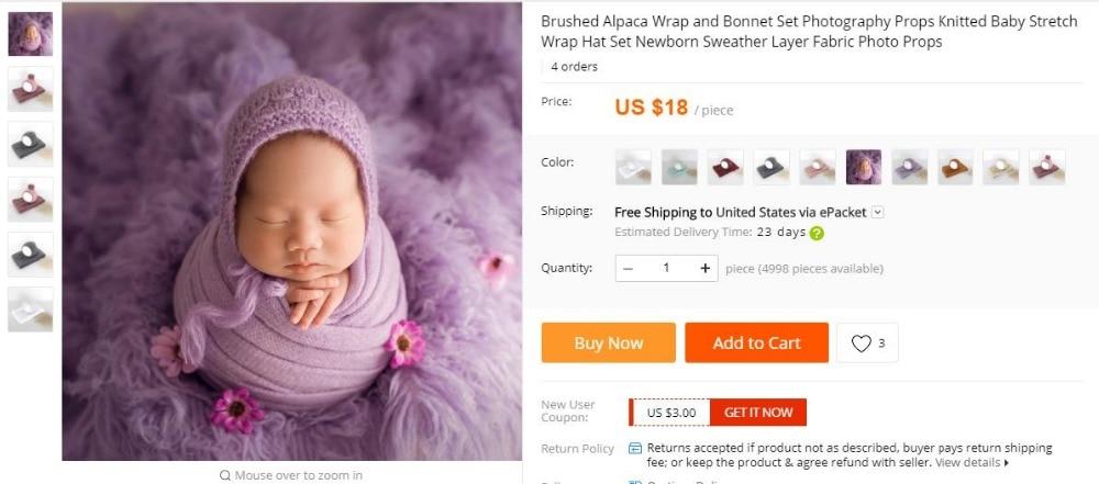 stretch knit wrap and Bonnet set