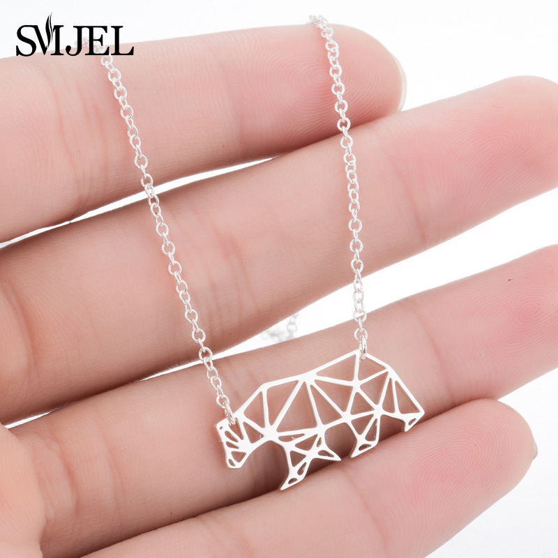 SMJEL Women Jewelry Geometric Polar Bear Necklaces Colliers Accessories Mama Bear Gift for mom Animal Necklace Pendant image