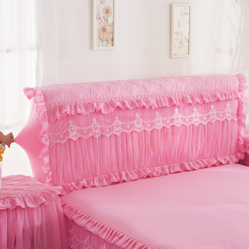 Romantic Princess Bed Headboard Cover Wedding Decorative Embroidery Cushion Cover Elegant Bow Cake Layer Bed Head