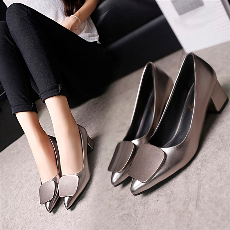 2019 New Arrival Thick Heels buckles Pointed Toe Women Pumps shoes women high heel zapatos mujer tacon zapatilla mujer verano #7 basic pump